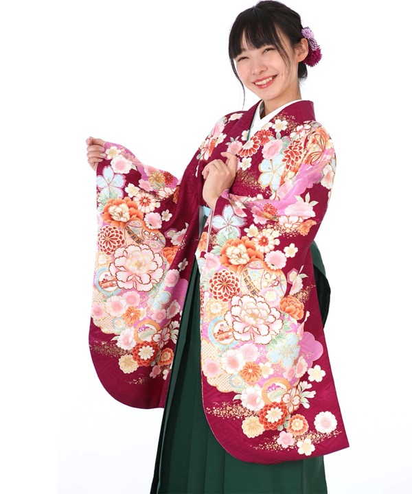 卒業式袴レンタル|紫地に菊牡丹着物×緑無地袴