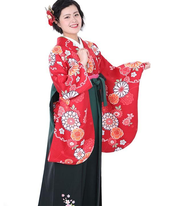 卒業式袴レンタル|赤に丸菊梅の花着物×緑グラデ刺繍袴