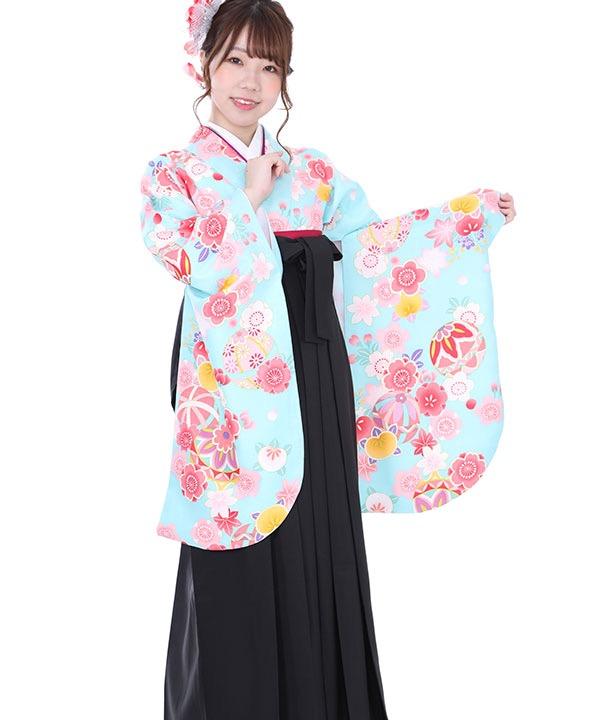 卒業式袴 水色に桜梅鞠 黒無地 S0005 F