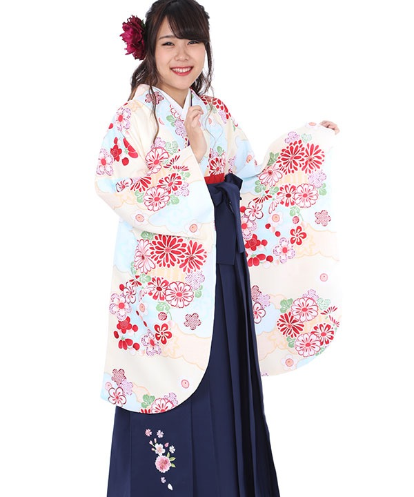卒業式袴|水色雲取り 紺刺繍|S0008 F