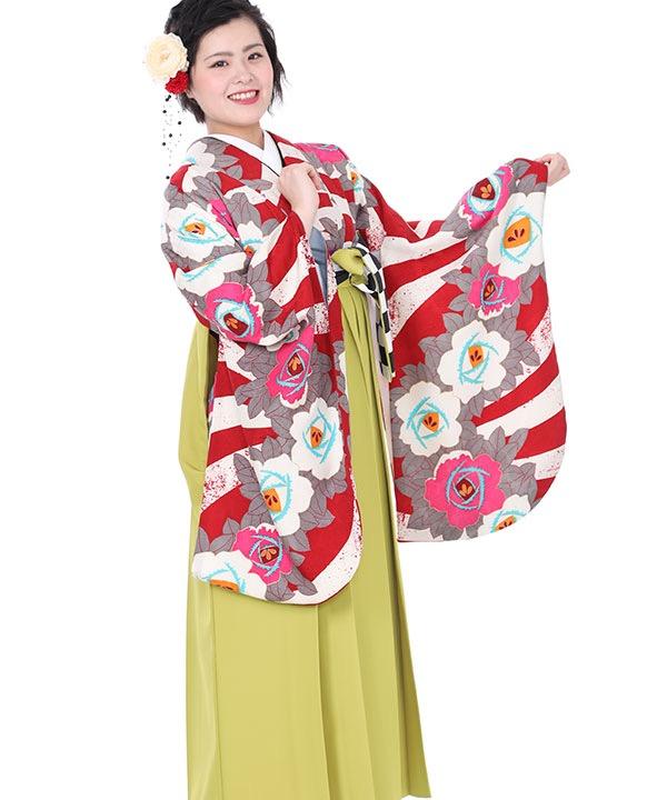 卒業式袴レンタル|赤に椿着物×AMIAYAコラボ黄緑刺繍袴