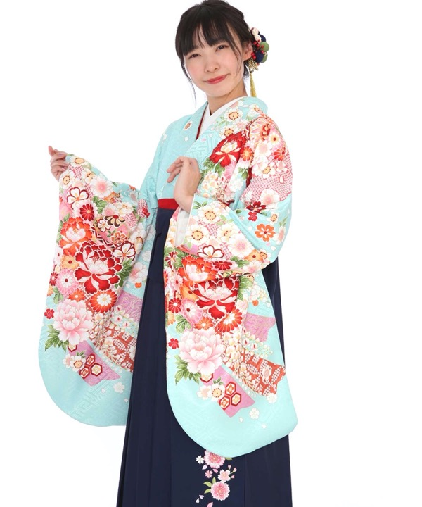 卒業式袴|水色に熨斗牡丹 紺刺繍|S0010 F