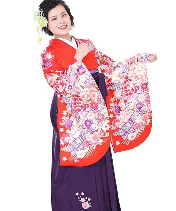 卒業式袴レンタル|オレンジに熨斗牡丹着物×紫刺繍袴
