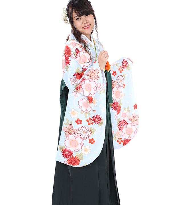 卒業式袴レンタル|水色桜流水着物×緑グラデ袴