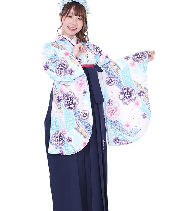 卒業式袴レンタル|水色熨斗桜着物×紺刺繍袴