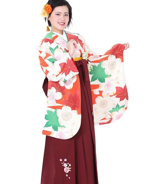 卒業式袴レンタル|オレンジに桜楓着物×エンジ刺繍袴