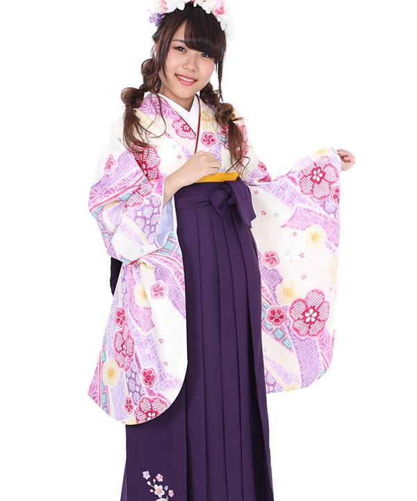卒業式袴レンタル|白に熨斗桜着物×紫刺繍袴