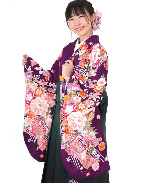 卒業式袴レンタル|紫に熨斗牡丹着物×緑刺繍袴