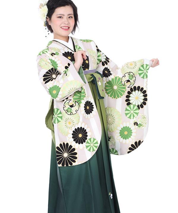 卒業式袴レンタル|ベージュストライプ着物×緑グラデ刺繍袴