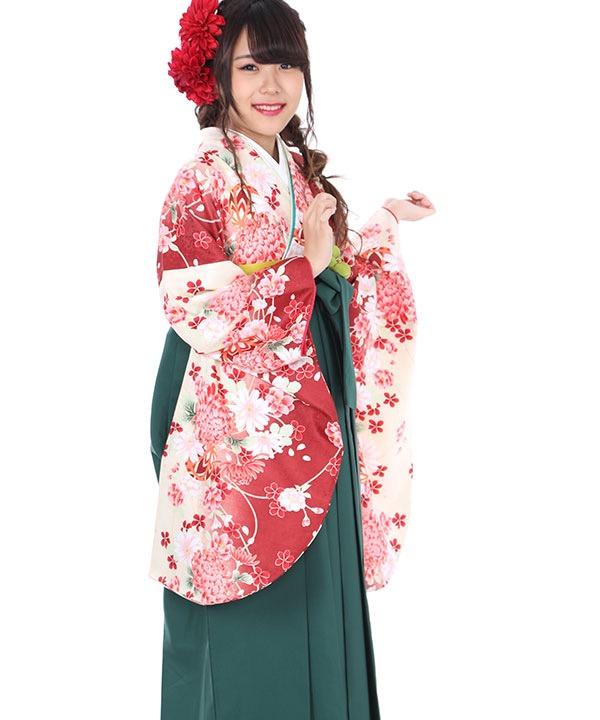 卒業式袴レンタル|赤に鞠桜着物×緑無地袴