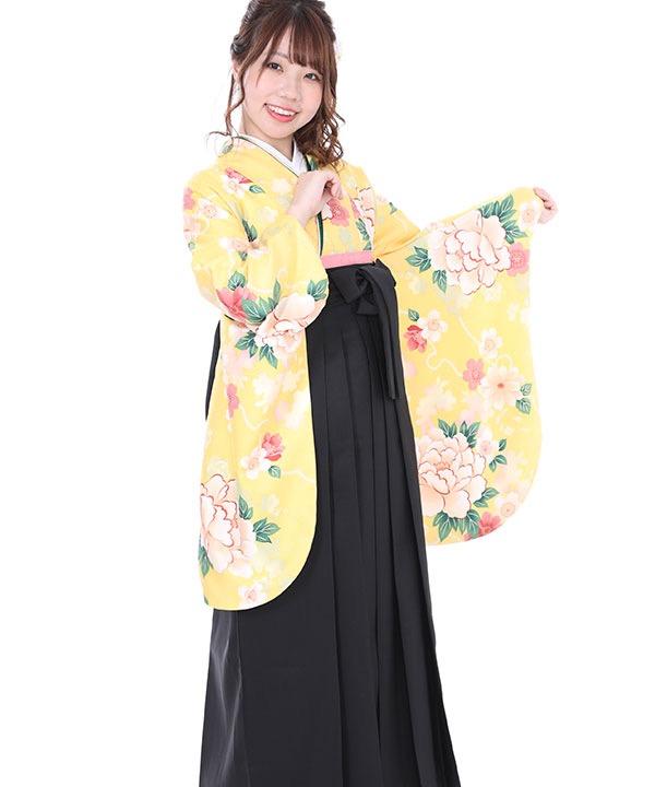 卒業式袴レンタル|黄色に桜牡丹着物×黒無地袴