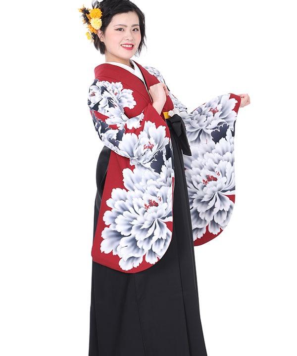 卒業式袴レンタル|赤に牡丹着物×黒無地袴