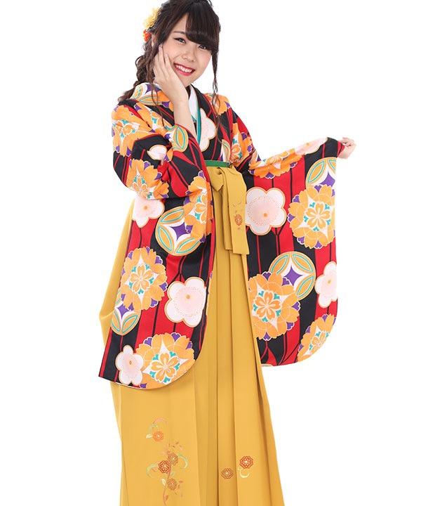 卒業式袴レンタル|黒赤矢絣着物×からし刺繍袴
