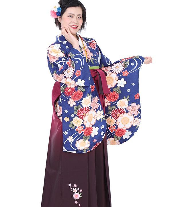 卒業式袴レンタル|青に桜流水着物×ワイングラデ刺繍袴