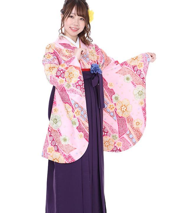 卒業式袴レンタル|ピンクに熨斗桜着物×紫無地袴