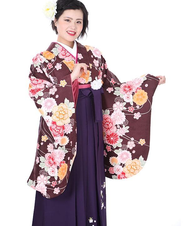 卒業式袴レンタル|茶に桜流水着物×紫刺繍袴