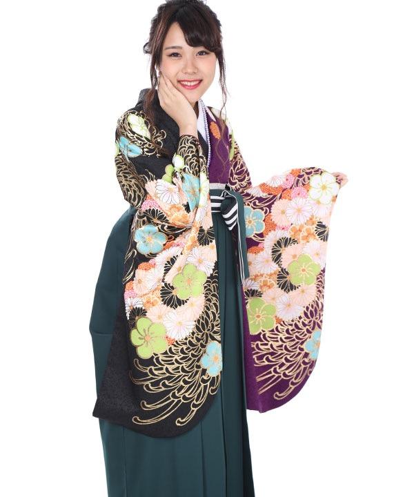 卒業式袴レンタル|紫・黒糸菊着物×緑刺繍袴