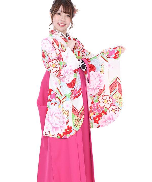 卒業式袴レンタル|白に矢羽根着物×AMIAYAコラボピンク刺繍袴