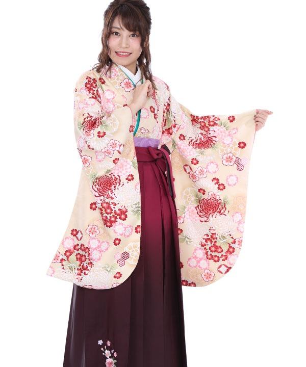 卒業式袴レンタル|クリーム菊桜着物×ワイングラデ刺繍袴
