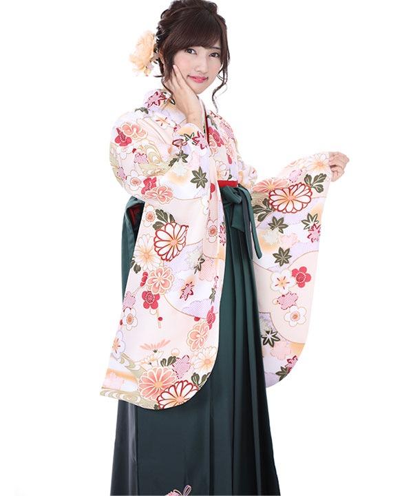 卒業式袴レンタル|クリーム花扇着物×緑グラデ刺繍袴
