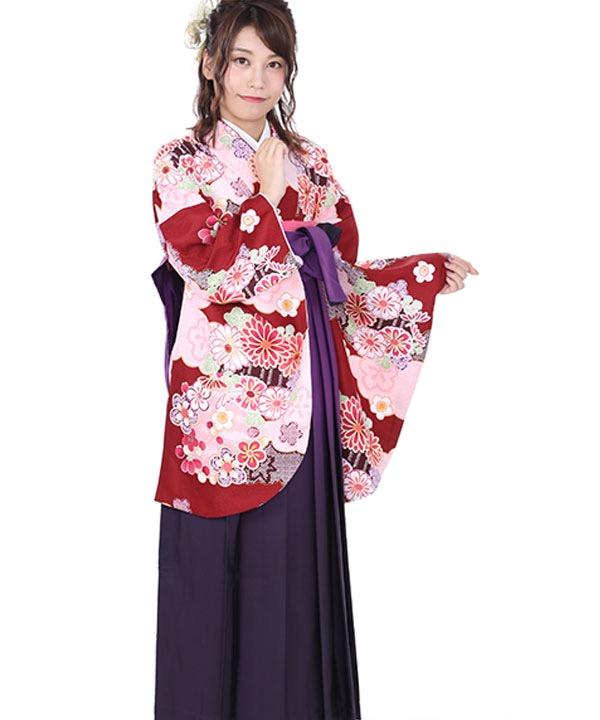 卒業式袴レンタル|赤に雲取り着物×紫グラデ袴