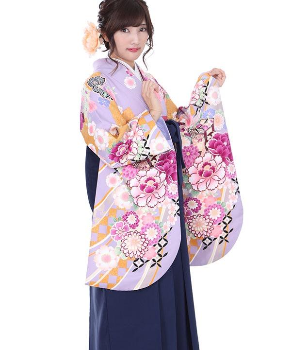 卒業式袴レンタル|薄紫に御所車着物×紺無地袴