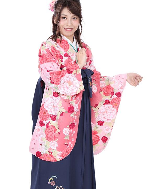 卒業式袴レンタル|ピンクに桜牡丹着物×紺に刺繍袴