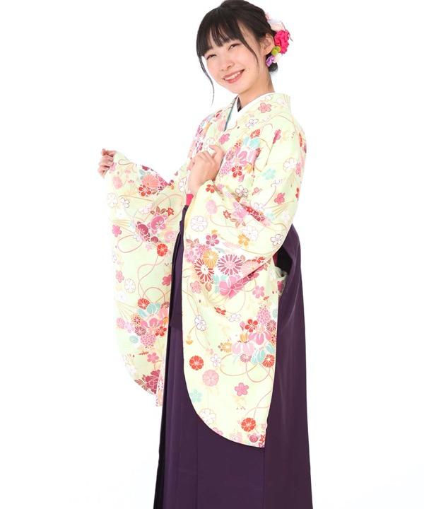 卒業式袴レンタル|黄緑に花紐扇着物×紫無地袴