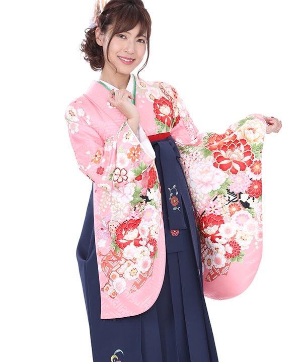 卒業式袴|ピンクに熨斗鞠 紺刺繍|S0036 F