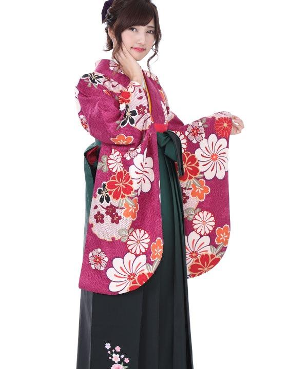 卒業式袴 赤紫に雪輪桜 緑グラデ刺繍 S0039 F