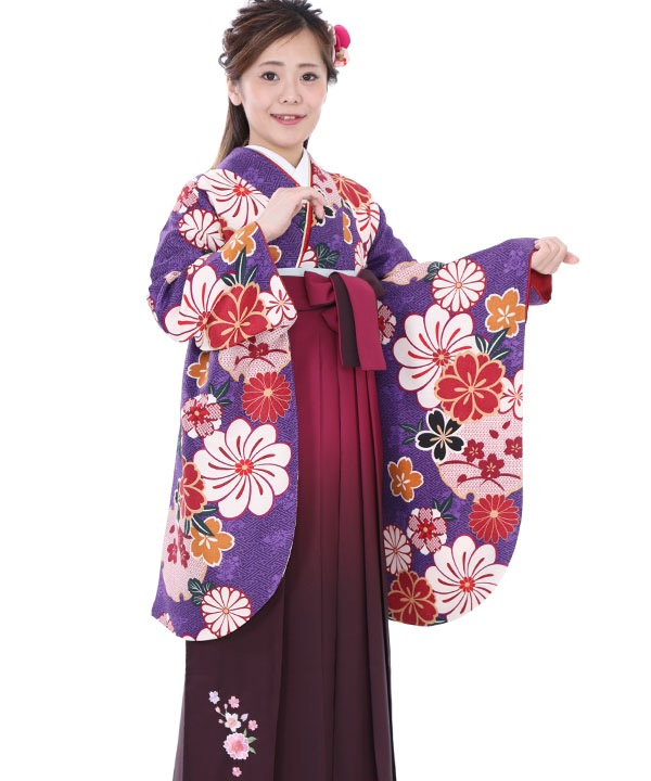 卒業式袴|紫花雪輪 ワイングラデ刺繍|S0050 F