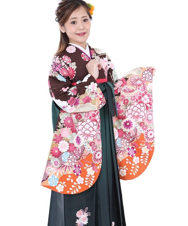 卒業式袴|茶に御所車 緑グラデ刺繍|S0052 F