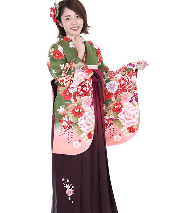 《33%OFF ¥29,800→¥19,800 2/28までのご予約対象》卒業式袴|緑に花扇 ワイングラデ刺繍|S0053 F