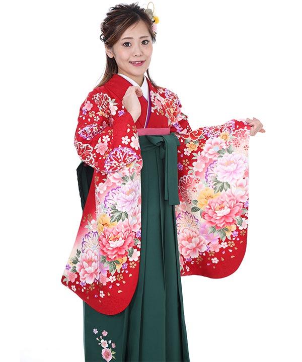 卒業式袴|赤に白ぼかし牡丹 緑刺繍|S0055 F