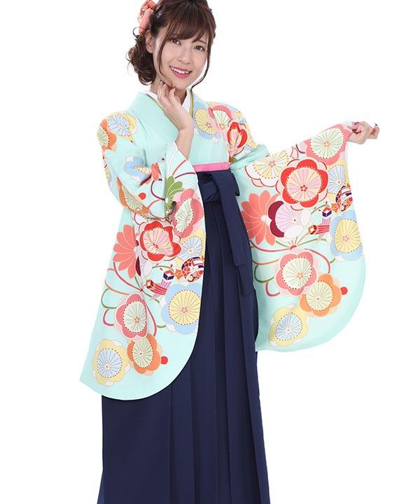 卒業式袴|水色に梅の花 紺刺繍|S0057 F