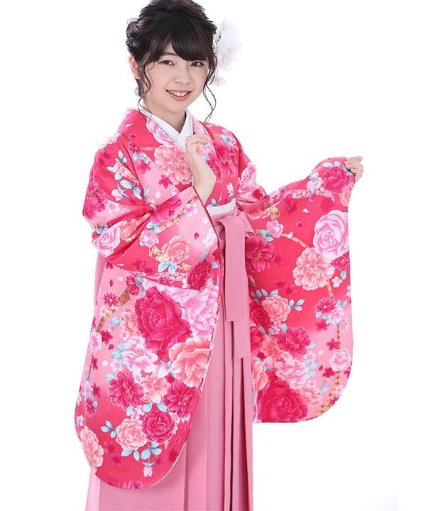 卒業式袴|濃ピンクに牡丹 ピンク無地|S0058 F