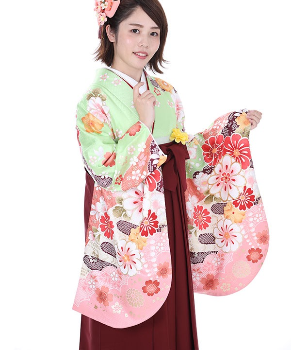 卒業式袴レンタル 黄緑にピンクぼかし丸菊着物×えんじ無地袴