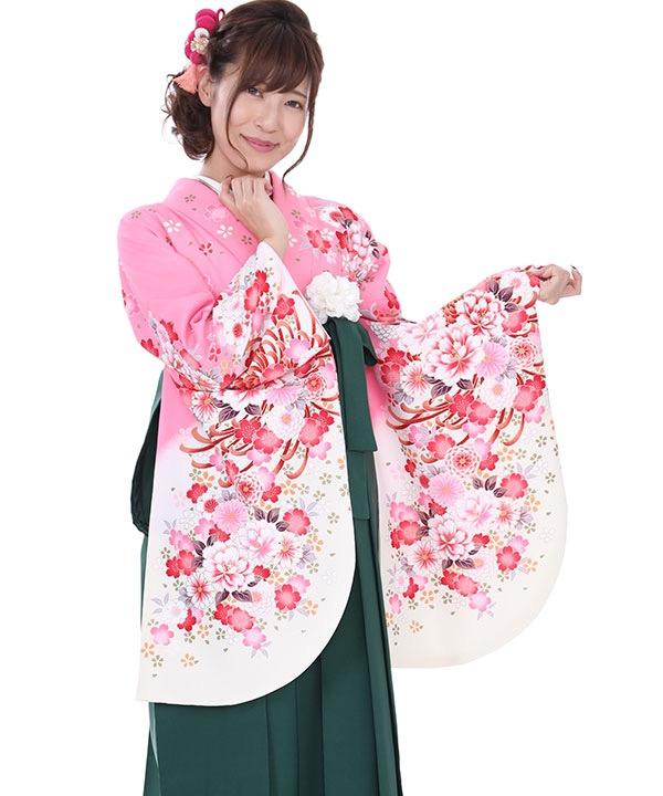 卒業式袴レンタル ピンクに白ぼかし花着物×緑刺繍袴