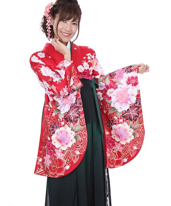 卒業式袴レンタル 赤に百合牡丹着物×緑グラデ刺繍袴