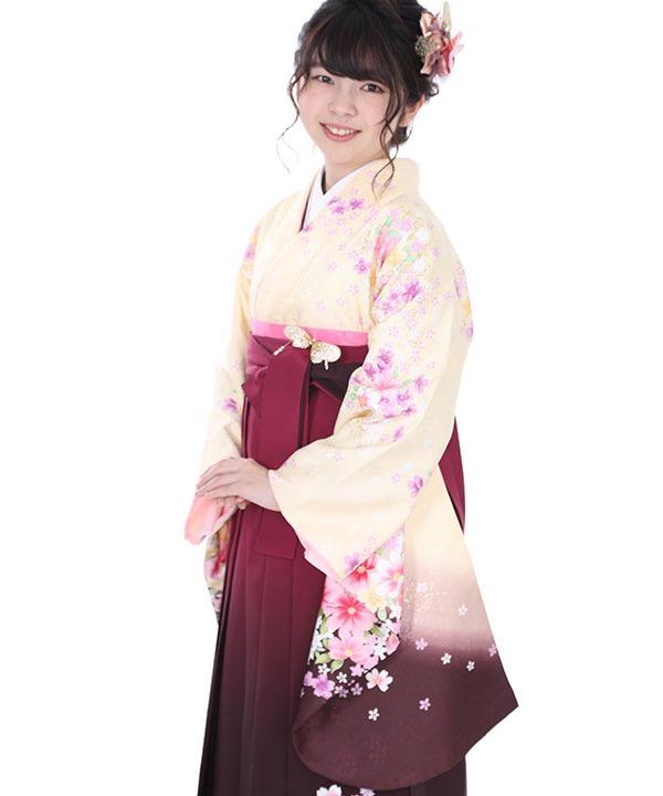 卒業式袴レンタル クリームぼかし桜着物×赤紫グラデ刺繍袴