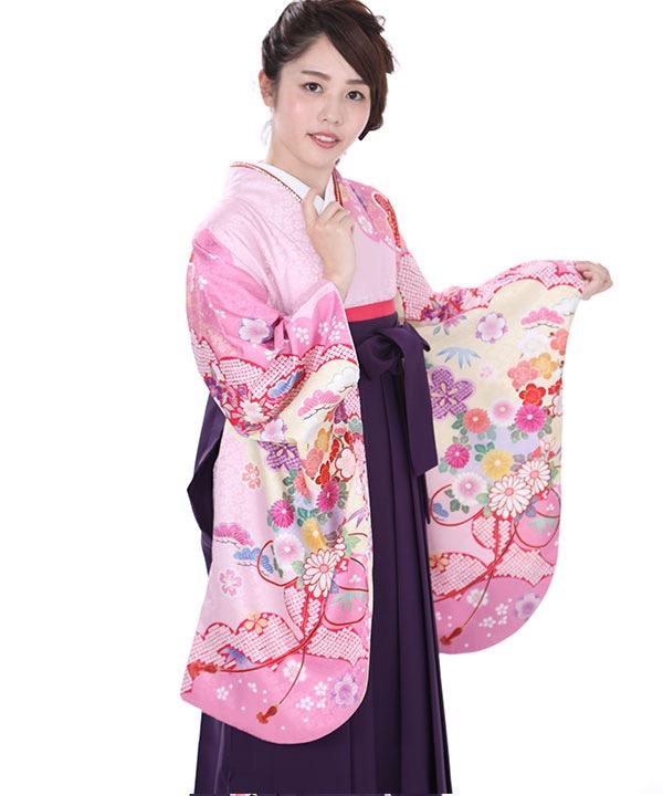 卒業式袴 薄ピンクに松竹梅着物×紫刺繍袴 S0065 F