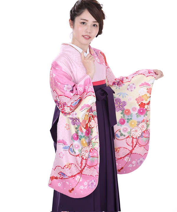 卒業式袴|薄ピンクに松竹梅着物×紫刺繍袴|S0065 F