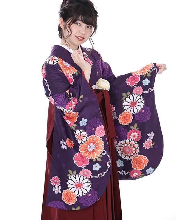 《25%OFF ¥19,800→¥14,800 3/22までのご予約対象》卒業式袴|紫に丸菊 えんじ刺繍|S0067 F