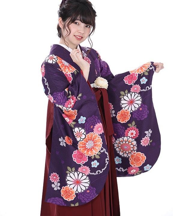 卒業式袴レンタル 紫に丸菊着物×えんじ刺繍袴