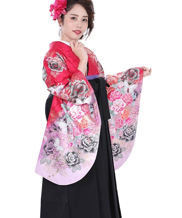卒業式袴レンタル 赤に黒薔薇蝶着物×黒無地袴