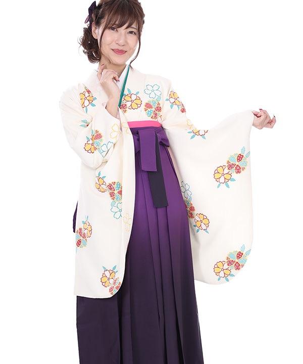 卒業式袴レンタル クリームに桜着物×紫無地グラデ袴