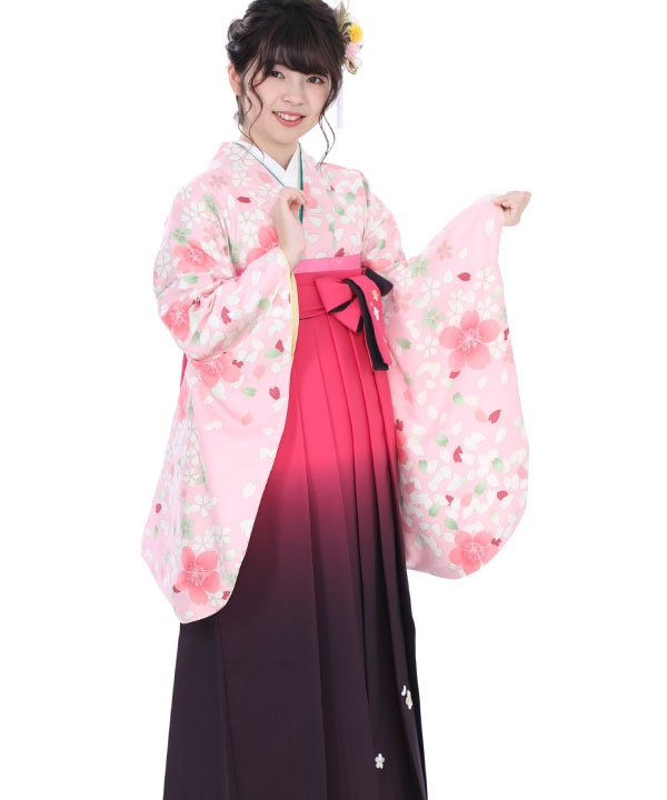 《16%OFF ¥17,800→¥14,800 2/28までのご予約対象》卒業式袴|薄桃色桜に ピンクグラデ刺繍|S0070 F