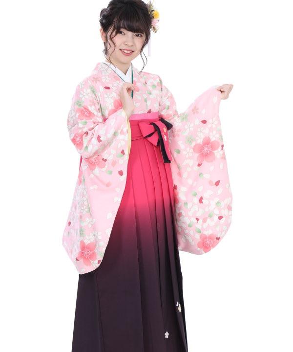 卒業式袴レンタル 薄桃色桜着物×ピンクグラデ刺繍袴