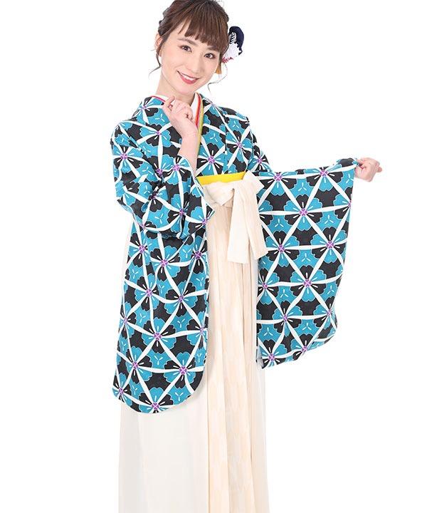 卒業式袴レンタル 水色と黒地の桜着物×クリーム矢絣袴