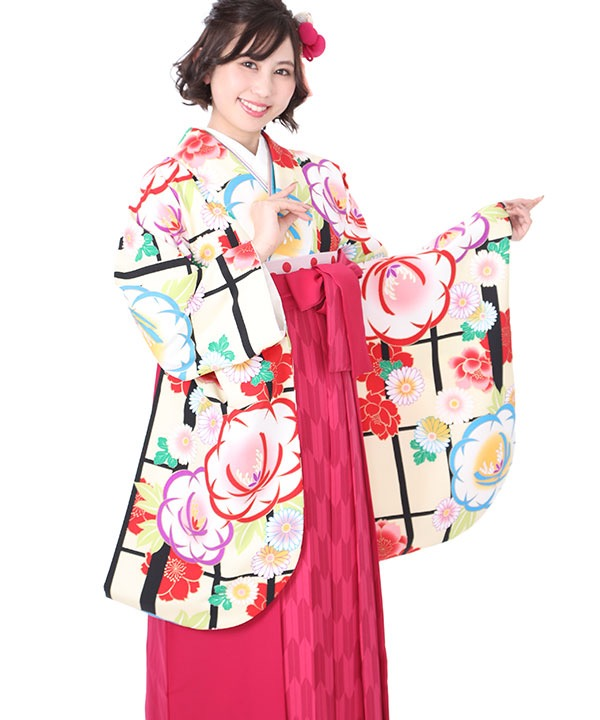 卒業式袴レンタル|クリーム地に格子 牡丹に菊着物×ピンク矢絣袴
